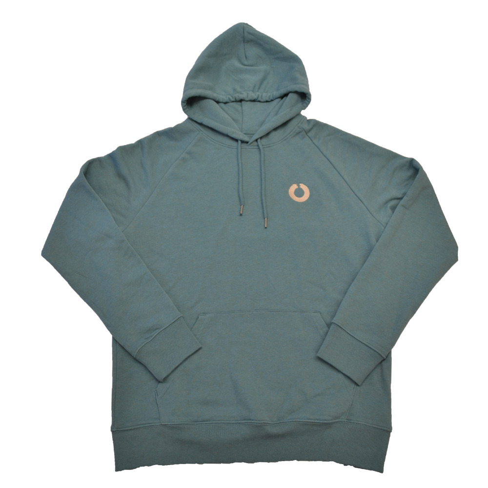 Flat lay of the Heritage hoody in teal